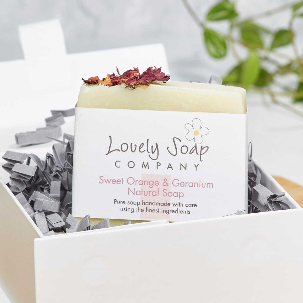 Sweet Orange and Geranium Personalised Handmade Soap Gift Lovely Soap Co