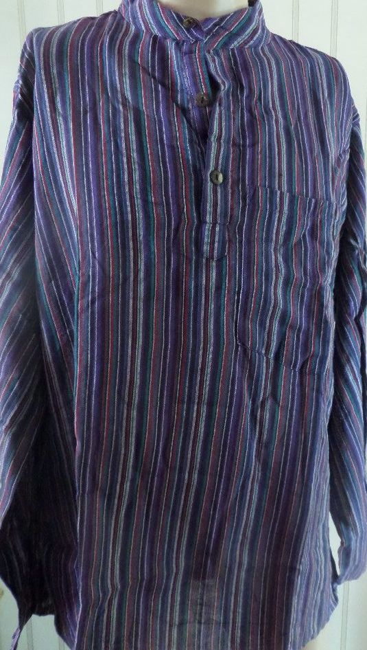 Mens' Shirt, purple stripe size XL