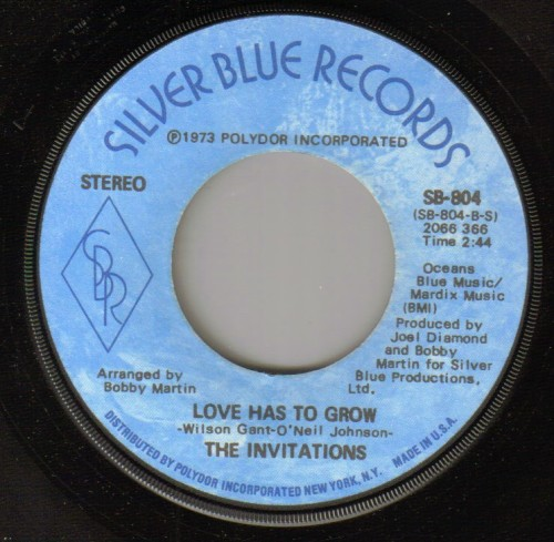 Invitations - Love Has To GrowVinyl  Plays EX.       Clean labels.  A few m