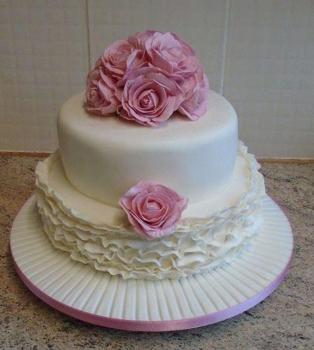 Pink rose frill cake
