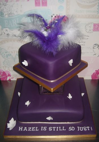 Purple feather cake