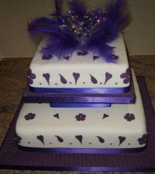 2 tier purple heart cake