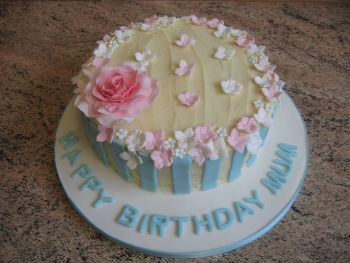 Turquoise and pink rose cake
