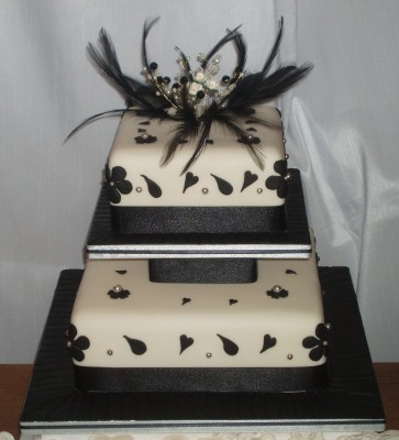black and white feather cake