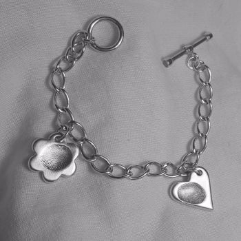 Tiffany style bracelet with fingerprint charm
