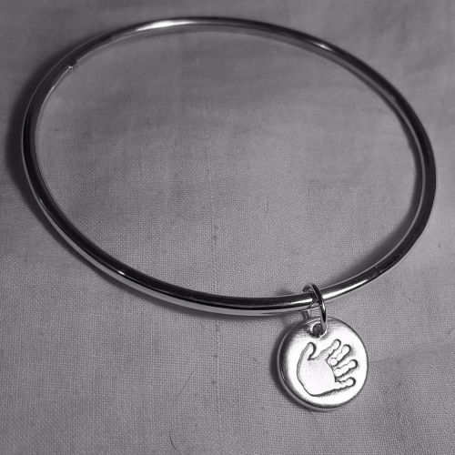 Classic bangle with handprint charm