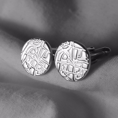 Maps in silver cufflinks