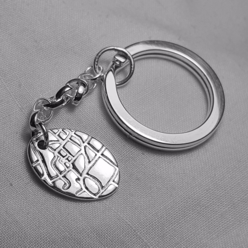 Maps in silver keyring