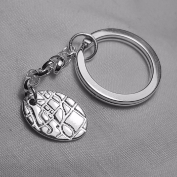 Silver maps keyring