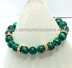 MC-GRC-B  Malachite & Gold Cased Crystal Rondelle Bracelet