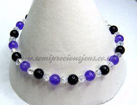BO-AMQ-B  Black Onyx & Amethyst Quartzite Bracelet