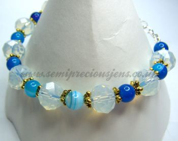 Blue Striped Agate and Opalite Bracelet