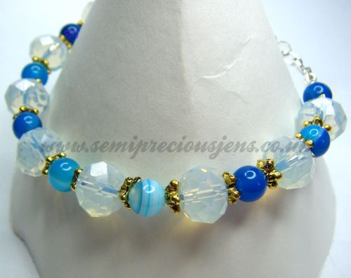 BSA-OP-GS-B  Blue Striped Agate and Opalite Bracelet