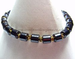 HT-GS-EB Hematite and Gold Spacer Bead Stretchy Bracelet