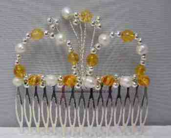 Citrine & White Pearl Hair Comb