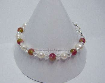 TM-WP-CB-B Tourmaline & White Pearl Bracelet