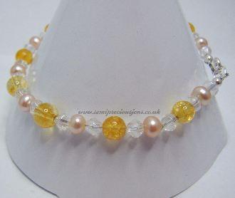 Citrine & Peach Pearl Bracelet