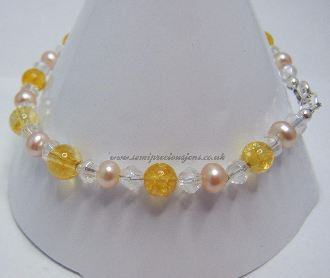 CT-PP-CB-B  Citrine & Peach Pearl Bracelet