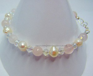 RQ-WP-CB-B  Rose Quartz & White Pearl Bracelet