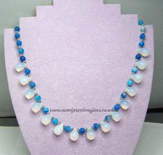 Opalite & Blue Striped Agate Necklace
