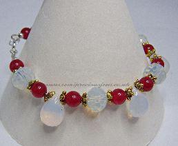 DRQ-OAP-B  Red Quartzite & Opalite Bracelet