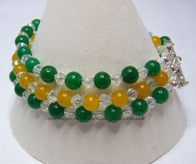 BEQ-HYO-CB-3B  Green & Yellow Quartzite Bracelet