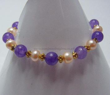AM-PP-GB-B  Amethyst & Peach Pearl Bracelet