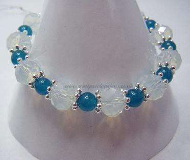 OP-AQ-SS-B  Opalite & Blue Quartzite Bracelet
