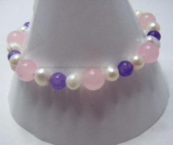 RQ-AM-WP-B  Rose Quartz, Amethyst & Pearl Bracelet