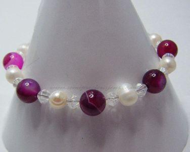 DPA-WP-CB-B   Pink Agate & Pearl Bracelet