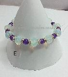 Opalite, Amethyst & Crystal Rondelle Stretch Bracelet