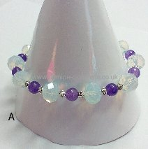 Opalite & Amethyst with Silver Spacer Beads Stretch Bracelet