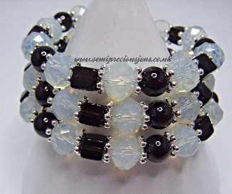 Opalite, Garnet & Smokey Quartz Wrap Bracelet