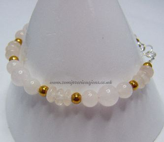 Assorted Rose Quartz & Gold Hematite Bracelet