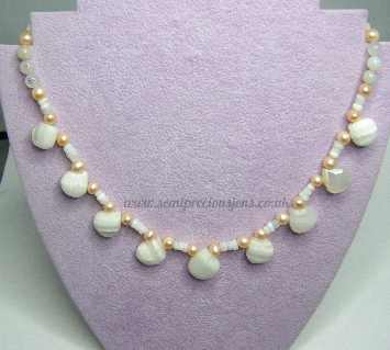 Genuine Opal & Pearl Necklace