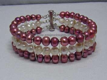 Red & White Pearl 3 Strand Bracelet