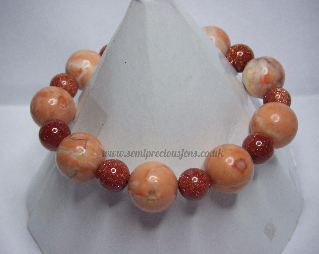 Pink Sunstone & Goldstone Stretch Bracelet