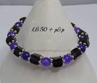 Amethyst Quartzite & Smokey Quartz Stretch Bracelet