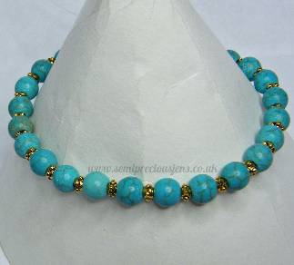 Turquoise & Gold or Silver Spacer Stretch Bracelet