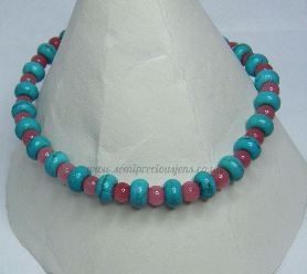 Turquoise & Pink Quartzite Stretch Bracelet