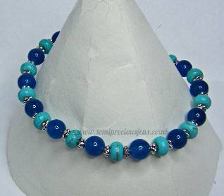 Turquoise & Blue Quartzite Stretch Bracelet