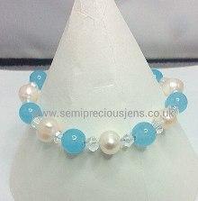Aquamarine & White Pearl Bracelet
