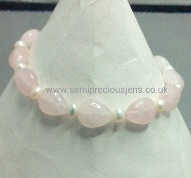 Rose Quartz & White Pearls Bracelet