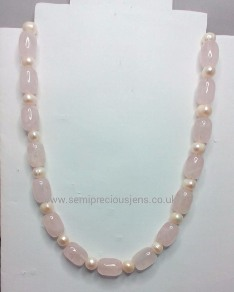 Rose Quartz & Pearl Necklace