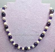 Amethyst & White Pearl Necklace