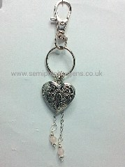 Rose Quartz & Heart Locket Keyring/Bag Charm
