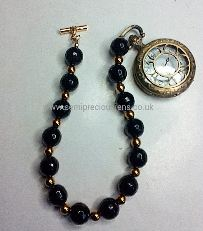 Black Onyx & Gold Hematite Gemstone Fob Chain& Watch