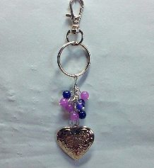 Purple Mashan Jade Locket Keyring/Bag Charm