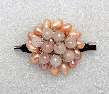 Peach Pearl & Rose Quartz Flower Brooch