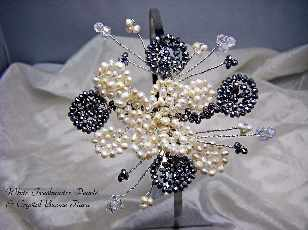White Freshwater Pearl/SSilver Bicone Side Tiara